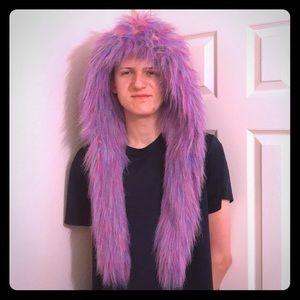 Fuzzy, Furry Winter Rainbow Hat